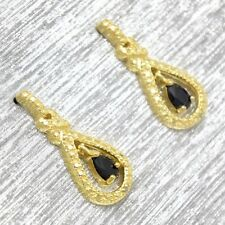 Zafiro Diamante Pendientes plata de ley 925 Bañado en oro