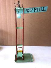 VINTAGE Sand Toy WOOLVERINE  TIN LITHO BOWLER ANDY MILL BLUE  18 inches tall