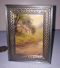 """Miniature Antique Watercolor """"Country Cottage"""" Small Antique Metal Frame"""