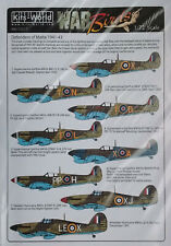 Kits World 1/72 KW172217 WW2 RAF Malta Defenders Spitfire + Hurricane  Decal Set