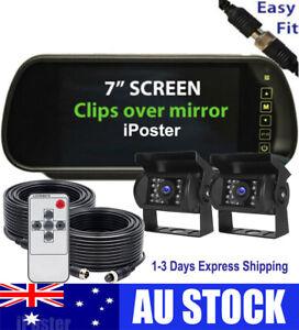 "4PIN Rear View Kit Dual Camera CCD Reversing 7"" Mirror Monitor 12v 24v For Truck"
