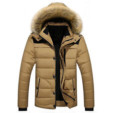 Men's Fur Collar Hooded Parka Winter Thicken Jacket Warm Coat Short Outwear