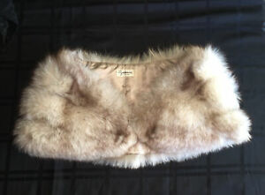 Vintage Fox Fur Off White Stole Bridal Shawl Wedding Cape Godchaux's New Orleans