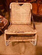 Vintage Canoe Wicker Leather Folding Seat Creel Fishing Chair antique Rattan