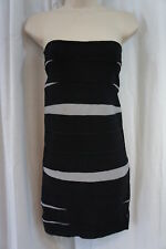 Collection Costa Blanca Dress Sz M Black Gray Cocktail Mini Full Back Zipper