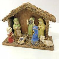 "Ceramic Nativity Creche Wood Stable Mini Figurines 4 x 6"""