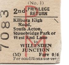 B.R.B. Edmondson Ticket - Kilburn High Rd., South Acton etc. to Willesden Junct.