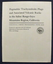 Usgs California Pegmatitic Trachyandesite Microminerals With Map, Inyo Mts 1970