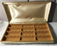 Vtg Mele Large Travel Jewelry Hard Case Box Earrings Cuff Link Cream Gold Mottle