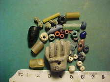 30+ cuentas Antiguo Circa 1000 BC - 700 AD + Romano Mano Amuleto De Lapislázuli