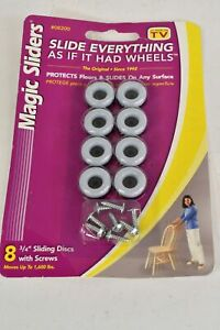 8 Pack Magic Sliders 08200 3/4 In Round Furniture Slide Disc Casters Screws NIP