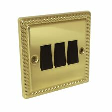 Georgian Brass Rope Triple Light Switch 3 Gang 2 Way Electric Bright Brass