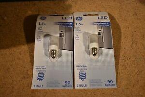 (2) GE LED T4 1.5W Appliance Night Light Bulb 90 Lumens Candelabra Base  E12