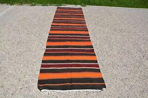 Turkish Tapis Kilim, Ottoman Kilim Rug, Turkish Runner Rug, Kilim Striped Rug, P