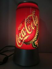"Coca Cola Spin Motion Sparkles Light 12"" Soda Can Lamp Collectors Man Cave Bar"