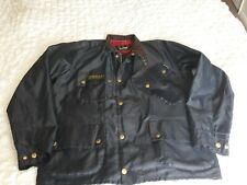Barbour International jacket XXL in blue nylon & red check lined