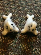 Pair of 2 handmade white felt seals stuffed animal toy