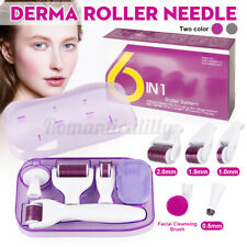 6 in 1 Titanium Roller Micro Needle Kit Set Skin Care Anti Aging 0.5-2MM New