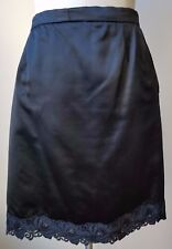 Designer Black Soft Satin Lining A- line Skirt with Lace Size M