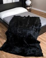 Real Rabbit Fur NATURAL Blanket Real Fur Carpet Rug Skin PelzThrow Leather Black