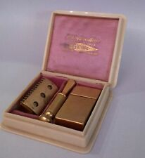 Art Deco Gillette Safety Razor WOMEN'S Set Milady Decollete with CELLULOID CASE