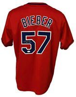 Cleveland Indians Shane Bieber Signed Custom Pro Style Red Jersey JSA Authent...
