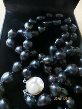 TAHITIAN GREEN/BLACK/ FRESHWATER/CULTIVATED PEARLS/CHOKER /19.2i/mop CLASP/BOXED