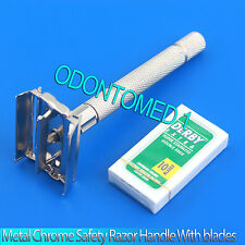 Metal Chrome Safety Razor Handle Double Edge 10 blades traditional SHAVER