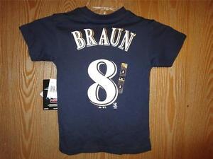 NEW #8 Majestic Milwaukee Brewers Ryan Braun Child Kids Sizes 2T-4T-4 Shirt