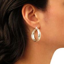 925 Argento Sterling Diamond Cut Cerchio Cerchi Orecchini