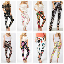 NEW WOMENS LADIES CASUAL FLORAL PRINT STRETCH TAPERED LEG LOOK TROUSERS PANTS