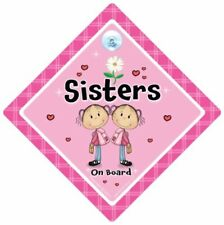 Sisters On Board Car Sign Baby On Board Suction Cup Car Sign