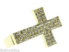 Urban Hip Hop 3-Finger Gold Cross Ring with Crystal Bling