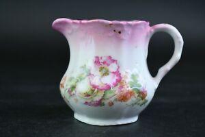 White Creamer Small Pitcher Multicolor Floral Design Pink Trim