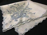 "#7622🌟ESTATE Vintage 40s Monogram ""J"" Bridal BLUE Emb Wedding Handkerchief Heir"