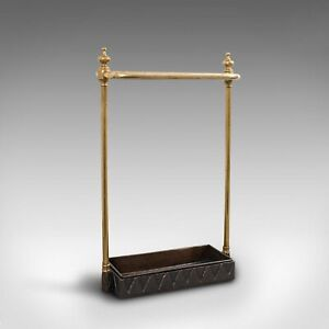 Antique Stick Stand, French, Brass, Hall, Cane, Umbrella Rack, Victorian, C.1850