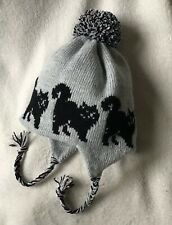 More details for black fluffy cat  on a knitted lined  silver  grey adult trapper ear flap hat