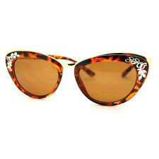 Vintage Cateye Sunglasses Womens Oversized High Fashion Mirror Design Tortoise