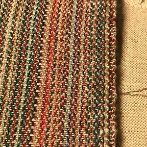 "37""Lx60""W multi-color woven striped effect wool-like fabric, fibers unknown"