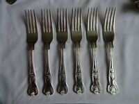 Vintage Silver Plated Kings Pattern Dessert Forks x 6 Viners Sheffield  18.5 cm