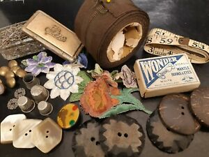 VINTAGE Antique Haberdashery LOT QUALITY PCS.THIMBLES SILK  1900's, collectable