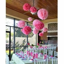 COCESA 21pcs Pink White Tissue Paper Pom Poms Flower Ball Wedding Party Supplies