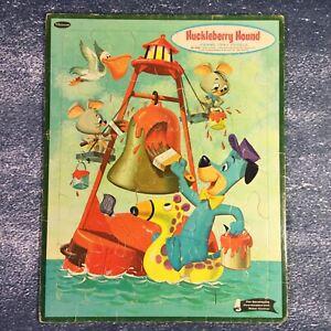 Vintage 1961 Frame Hanna-Barbera's Huckleberry Hound Frame Tray Puzzle 11.5x14.5