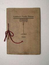 Goldfinch Family History 1922 Genealogy Chart William Pennsylvania Tree Original