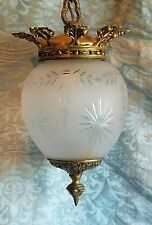 Vintage Frosted Etched Glass Pendant Light Fixture