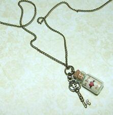 *Steampunk style Love Potion bottle/vial & Key antique bronze Necklace/Pendant*