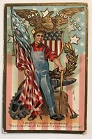 Scarce~Patriotic Antique ~Labor Day Postcard ~Worker~Flags~Vintage-s512