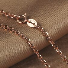 Real Solid Au750 18K Rose Gold Women's Cable Chain Necklace Xlee