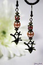 Glass Jewels Bronze Ohrringe Ohrhänger Vintage Perlen Rentier Hirsch #I053