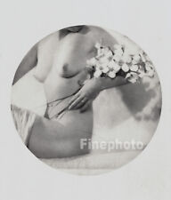 1937 Original Art Deco FEMALE NUDE Vignette Photo Litho ALFRED CHENEY JOHNSTON